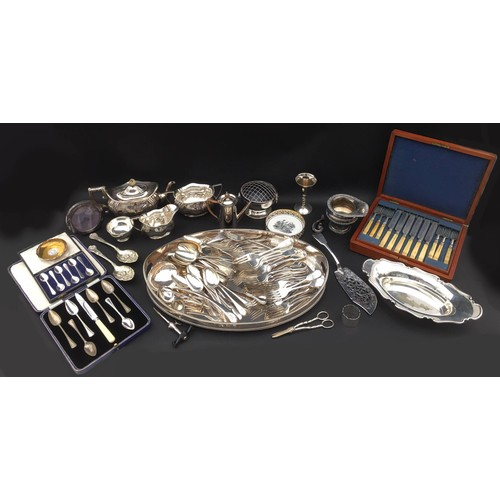 8 - A collection of silver plated wares, including a three piece 'Plante' tea set all engraved with 'GGH...