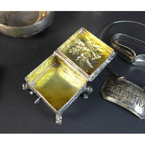 26 - A collection of silver items, comprising three Georgian silver decanter labels,  two engraved 'Madei...