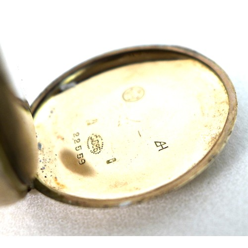 204 - A Continental 14K gold open faced pocket watch, later converted with attached wire lugs to a wristwa...