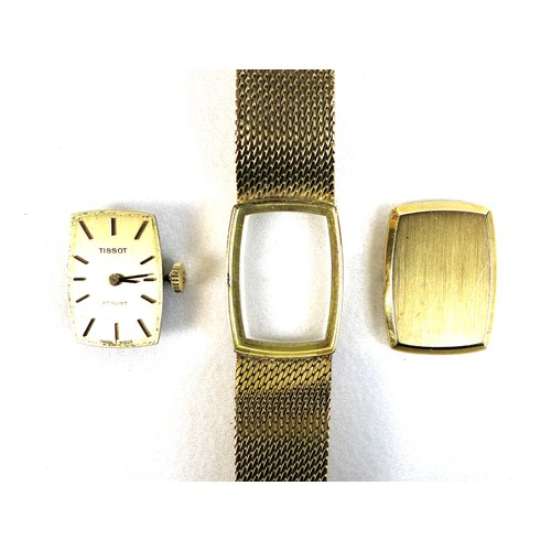 212 - A Tissot Stylist 18ct gold cased lady's wristwatch, circa 1970s, the cushioned rectangular dial with...