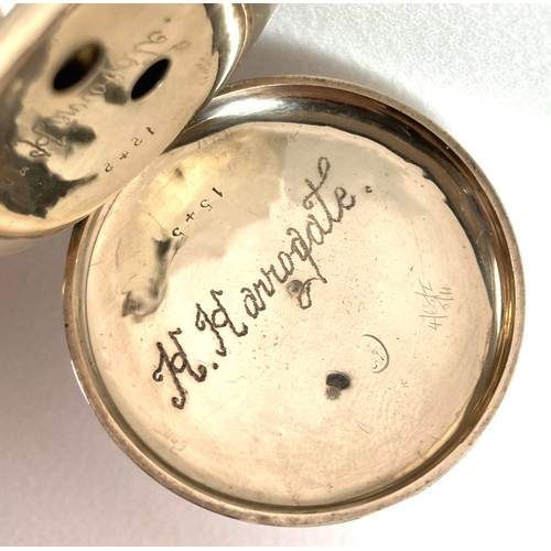 238 - A Waltham 10ct gold open faced pocket watch, circa 1889, key wind, the white enamel dial with black ...
