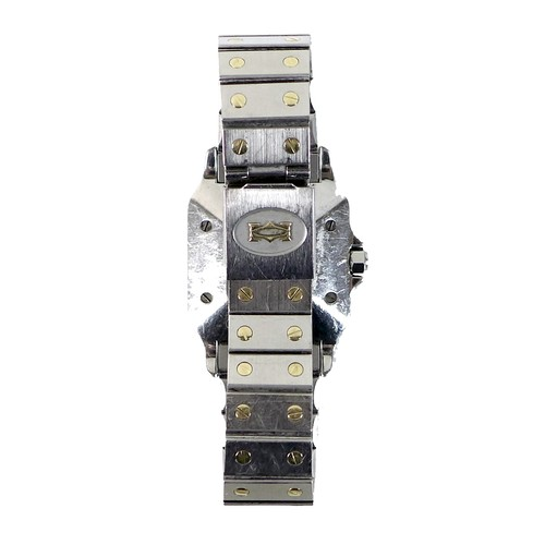 223 - A Santos de Cartier two tone gold and stainless steel cased wristwatch, circa 1984, square white dia...