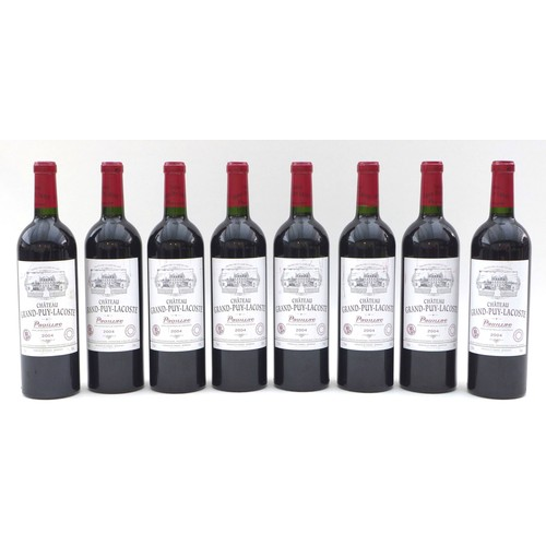 191 - Vintage Wine: eight bottles of Chateau Grand Puy-Lacoste, 2004, Pauillac, U: all high fill. (8)...