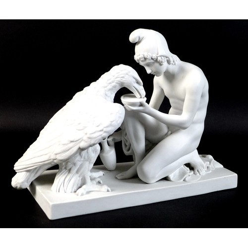 72 - A Royal Copenhagen Parian sculpture, circa 1900, modelled as 'Ganymede and the Eagle', after the ori...