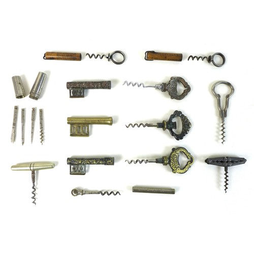 55 - An impressive collection of antique corkscrews, comprising a Victorian Lund single lever corkscrew, ...
