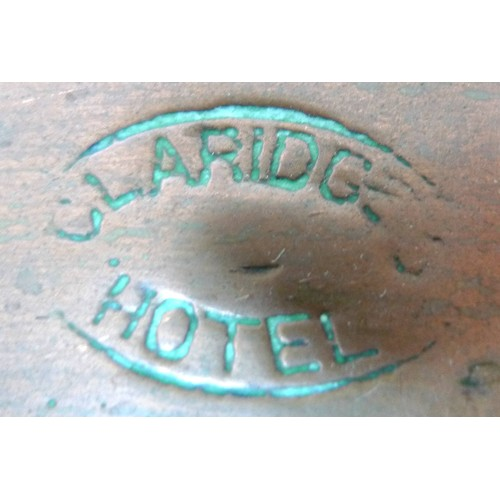 56 - Two very large copper frying pans, circa 1910, one stamped 'Claridges Hotel', one with brass handle,...