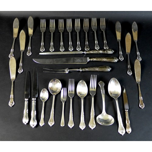 8 - A canteen of silver plated cutlery by United Cutlers of Sheffield in the St Ann's pattern, comprisin...