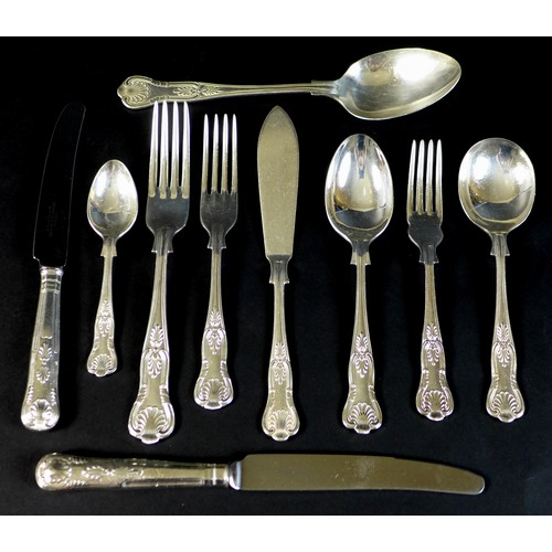 4 - A canteen of silver plated cutlery, in the King's pattern for eight place settings by Lambert and Bl...