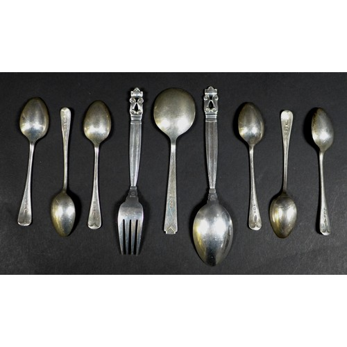28 - A collection of Danish and British silver flatware, comprising a Georg Jensen Christening spoon, 15....