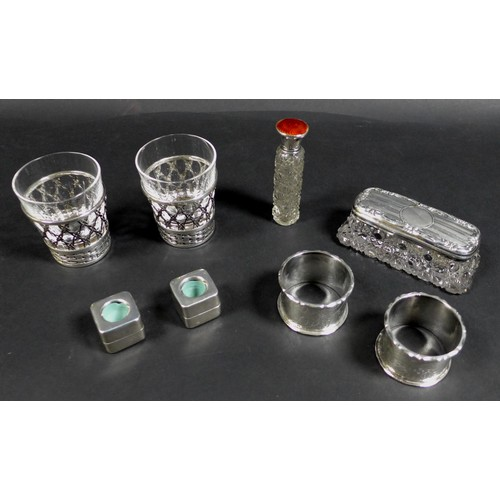14 - A collection of Victorian and later assorted silver items, comprising a George V, silver and enamel ...