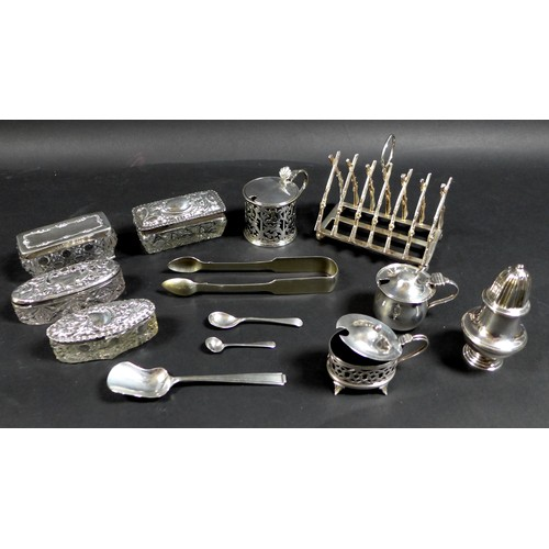 30 - A group of George V and later silver items, including two mustard pots with lids, one of cauldron fo...