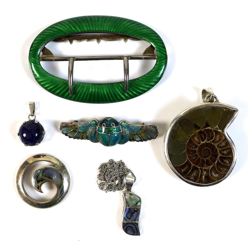 100 - A group of Edwardian and later jewellery, comprising an Edwardian silver, green and turquoise enamel...