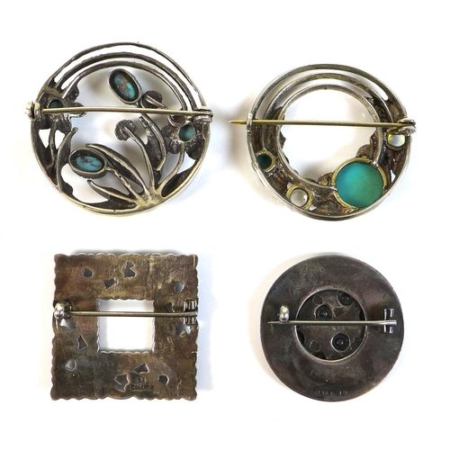 106 - A group of four Scandinavian silver brooches, comprising a Bernard Instone square form brooch decora...