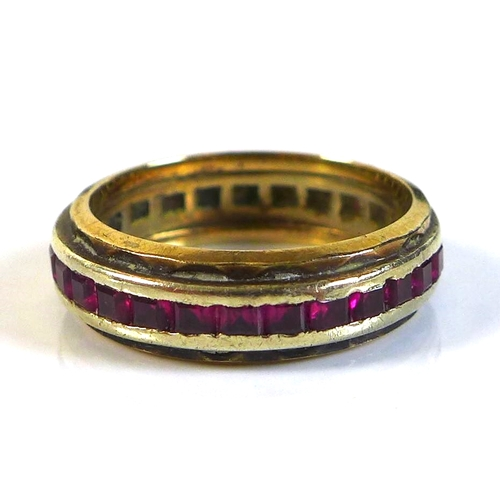 109 - A collection of jewellery and lady's accessories, including a ruby eternity ring, set in white and y...