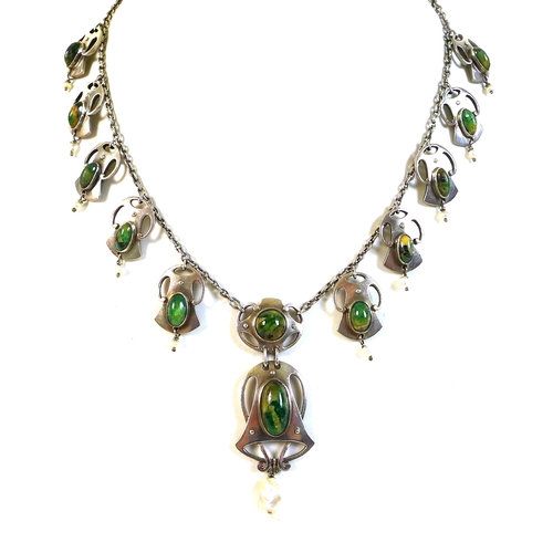 119 - A Volmer Bahner Co silver necklace, circa 1950, in Secessionist style, with a central large drop pen...