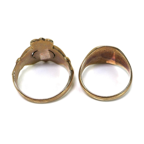 125 - Two 9ct gold rings, comprising a 9ct gold Claddagh ring, size R, 6.4g, and a 9ct gold signet ring, s...