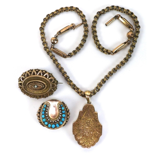 131 - A group of Victorian gold jewellery, comprising a 14ct gold brooch set with turquoise and seed pearl...