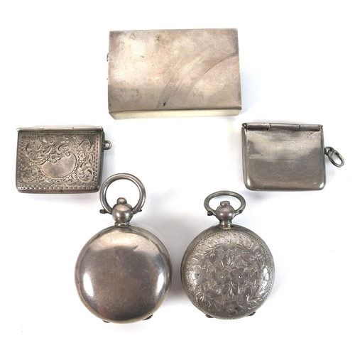 17 - A group of Edwardian silver vertu items, comprising two sovereign holders, two stamp holders, and a ...