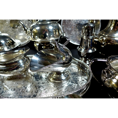 3 - A quantity of silver plate including a kettle with cane handle on spirit warming stand, Martin Hall ...