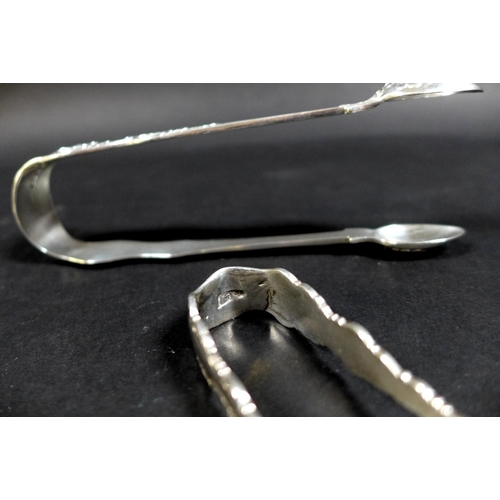 44 - A collection of nine Victorian and later silver sugar tongs, with five Victorian tongs,  including a...