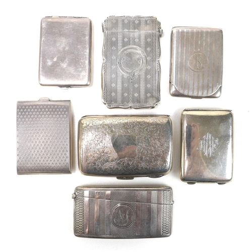 48 - A group of Edwardian silver card cases, including several engine turned examples, and one engraved w...