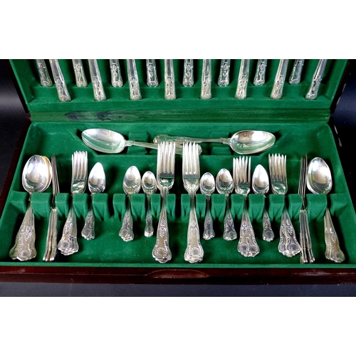 6 - A canteen of silver plated cutlery, in the King's pattern for eight place settings by W. Wright, She...