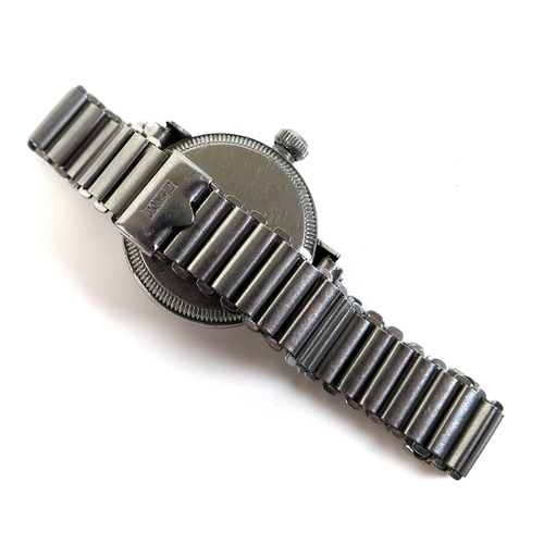 84 - A Rolex Oyster steel cased lady's wristwatch, circa 1940, circular silvered dial with black Arabic n...