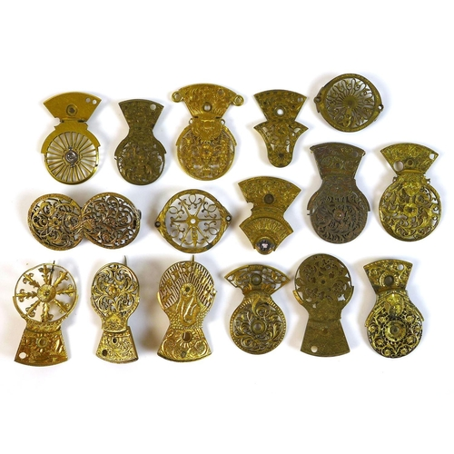 87 - A group of 18th and 19th century gilt metal cock plates, from various pocket watches, four made into...