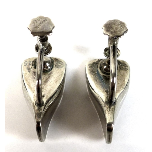89 - A pair of silver Georg Jensen earrings, circa 1970, 'Butterfly' design, model A116, French screw fit...