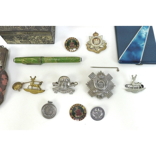 9 - A group of collectables, including two travel clocks, an evening bag, a Chinese white metal box, a c...