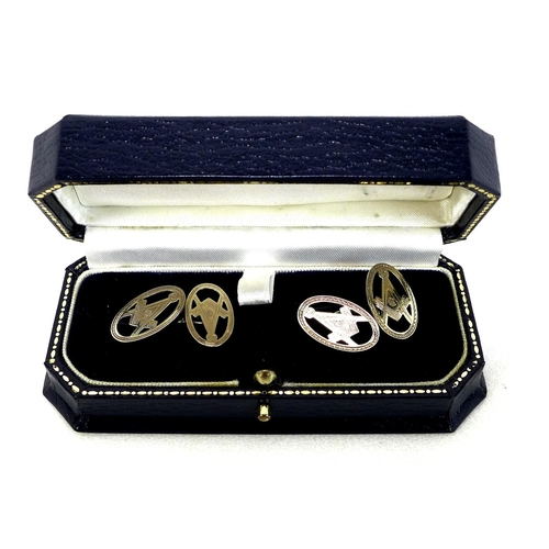 93 - A pair of silver gilt Masonic cufflinks, 5.1g total, boxed....