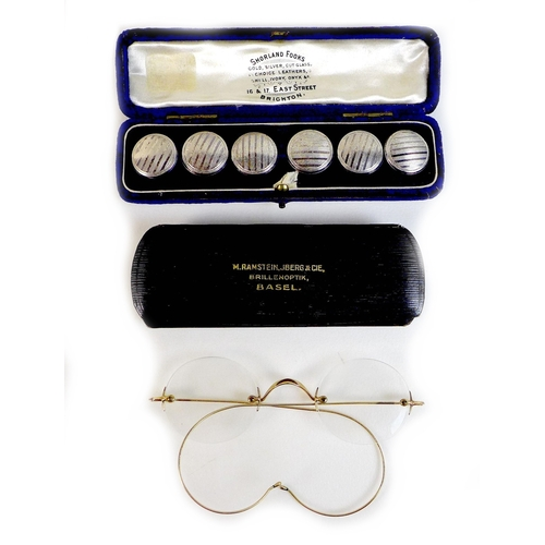 96 - A pair of unmarked gold framed spectacles, each lens 3.9 by 3.5cm, 2.15cm between lenses, testing as...
