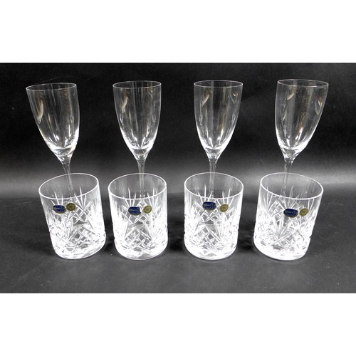 45 - A group of glass tableware, comprising two pairs of Dartington Crystal 'Rachel Small Wine Glasses', ...