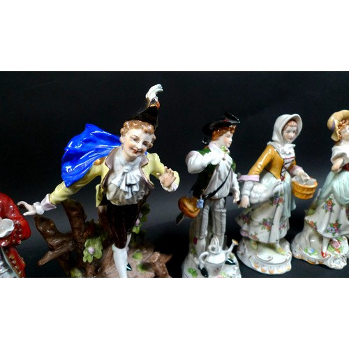 44 - A group of eleven Sitzendorf porcelain figures, all in 18th century style and costume, comprising a ...