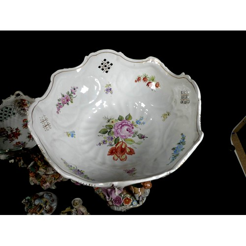 43 - A large PMP Shierholz Plaue porcelain centrepiece, the bowl with rococo scrolls, gilded highlights a...