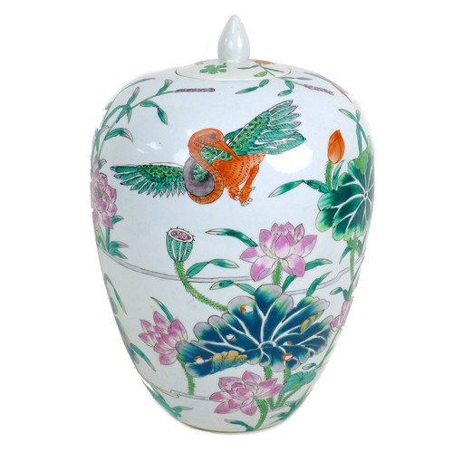 11 - A modern Chinese famille verte vase and cover, of ovoid shouldered form, the cover with pointed fini...