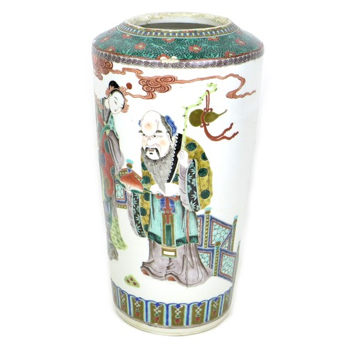 2 - A Chinese porcelain famille verte vase, Qing Dynasty, 19th century, of tapering cylindrical form, de...