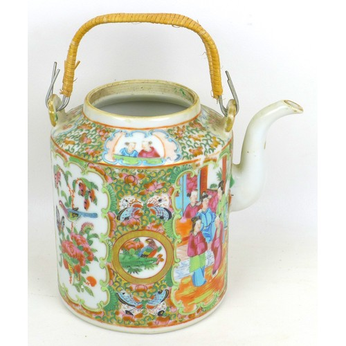 9 - A Chinese Canton porcelain teapot, 19th century, of cylindrical form with narrowed rim and two cane ...