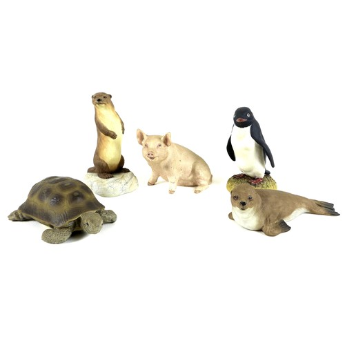 41 - A group of five Aynsley porcelain animal figures, comprising Otter, 15.5cm high, Piggy, 10cm high, C...
