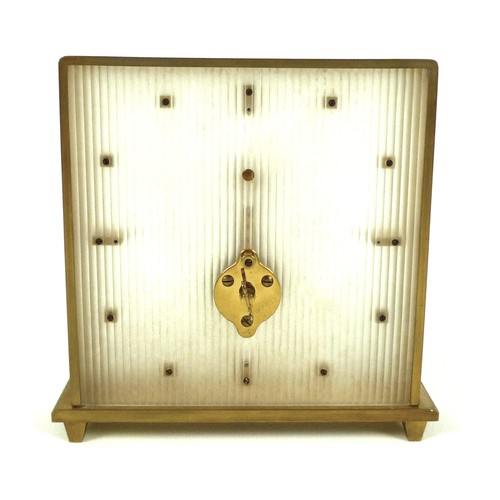 154 - A Jaeger LeCoultre Pendule Baguette clock, circa 1960s, with raised gilt metal hour markers and fram...