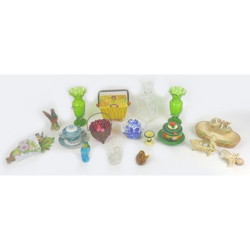 34 - A group of Victorian and later ceramics and glassware, including a parian ware ringholder, 7.5 by 7....