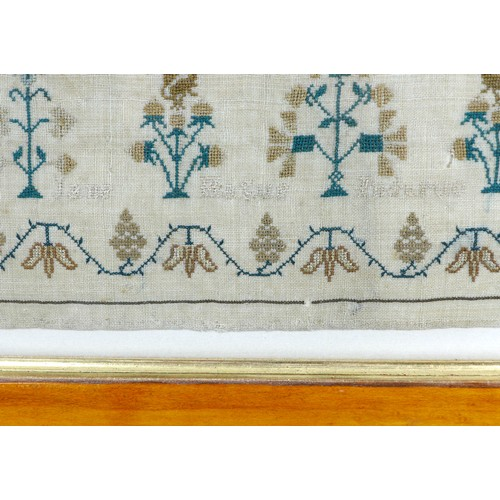 153 - A William IV sampler, cross stitch embroidered onto linen, 'Jane Marriott, 8 years old in 1836', wit...