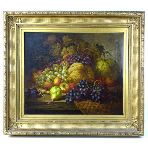 277 - Charles Thomas Bale (British, 1845-1925): still life of fruit on a table, depicting two pumpkins, bu...