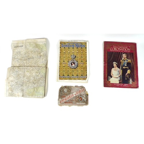 155 - A Queen Victoria Jubilee book of reliefs celebrating her reign 1837-1887, a vintage linen backed map...