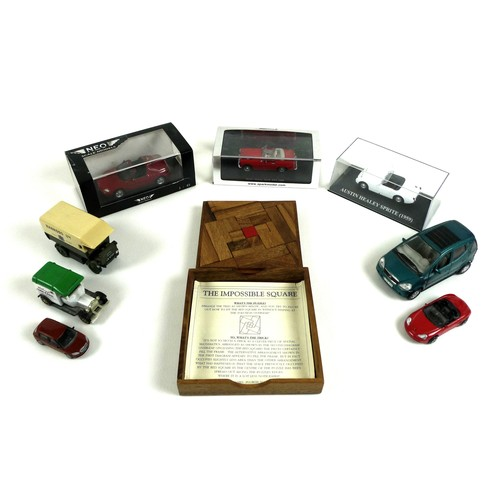 175 - A group of eight die-cast vehicles, comprising a Neo Scale Model f a Honda CRX Del Sol, a Spark mode...