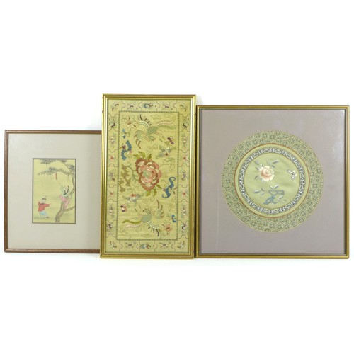 16 - Two framed Chinese embroideries, comprising a rectangular panel depicting birds and butterflies, 42....
