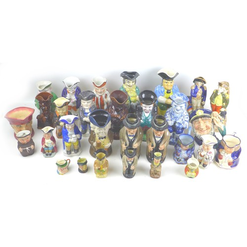 37 - A collection of thirty Toby jugs and character jugs, including three Royal Doulton Winston Churchill...