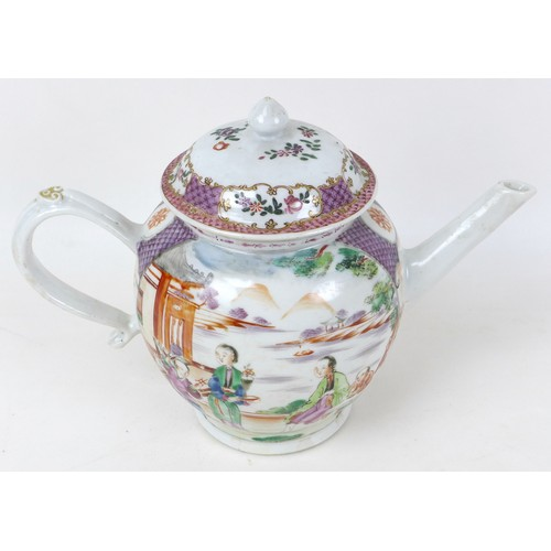 6 - A Chinese porcelain famille rose teapot, with strapwork handle, decorated with two reserve panels de...