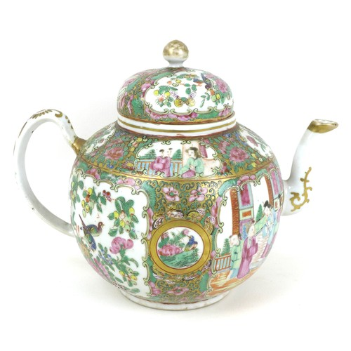 12 - Three pieces 19th century and later Chinese Canton porcelain, comprising a spherical form teapot, de...