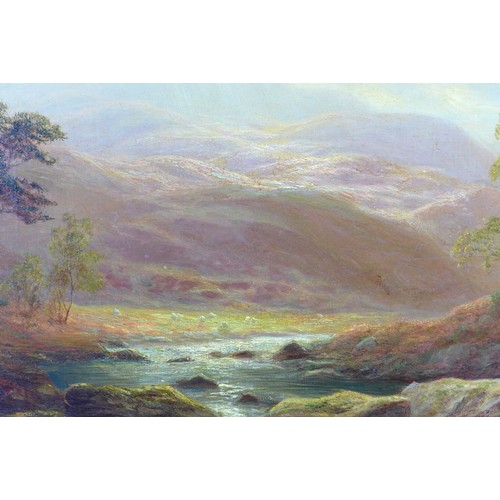 279 - William Mellor (British, 1851-1931): 'On the Llugwy, North Wales', depicting grazing sheep in a moun...